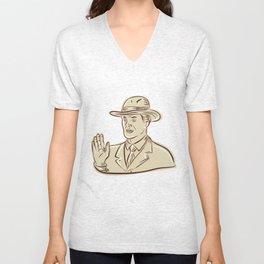 Businessman Fedora Hat Vintage Etching Unisex V-Neck