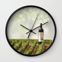 wine Wall Clocks featuring Wine by Gouzelka