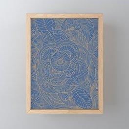 Blue Floral Framed Mini Art Print