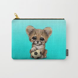 Cheetah Cub With Football Soccer Ball Carry-All Pouch