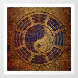 Purple Yin Yang Sign on Granite Art Print