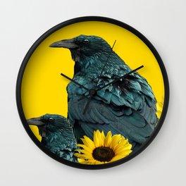 TWO CROW/RAVEN BIRD PORTRAITS & SUNFLOWERS GOLD  ART Wall Clock
