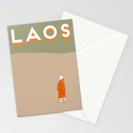 Laos, Mekong River Travel Poster Block Type Stationery Cards