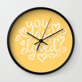 You Are Loved, Sunny Golden Yellow Typography Wall Clock