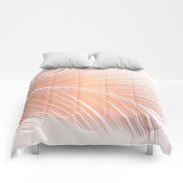 Palm leaf - copper pink Comforters