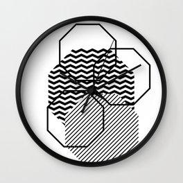 Geometric - Hexagon, Black Mixed Pattern Wall Clock
