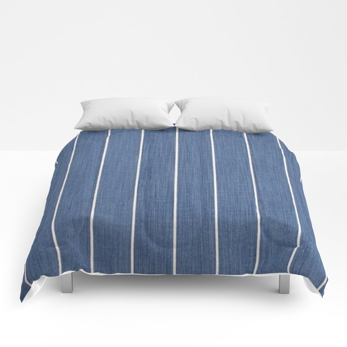 Denim Blue with White Pinstripes Comforters