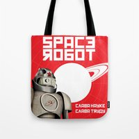 soviet Tote Bags featuring Retro Soviet minimalism spacerobot   by Cardula