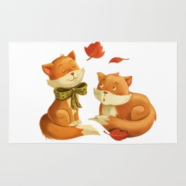 Two Cute Foxes at Night animal forest Rug