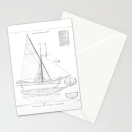 Vintage black & white sailboat blueprint drawing antique nautical beach or lake house preppy decor Stationery Cards
