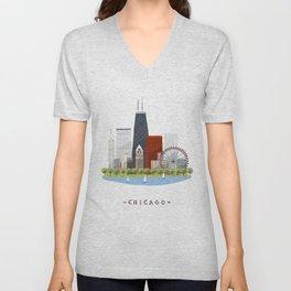 Chicago skylines Unisex V-Neck