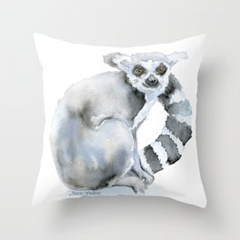 Ring-tailed Lemur Watercolor Throw Pillow