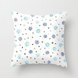 Watercolour Daisies & Stars Throw Pillow