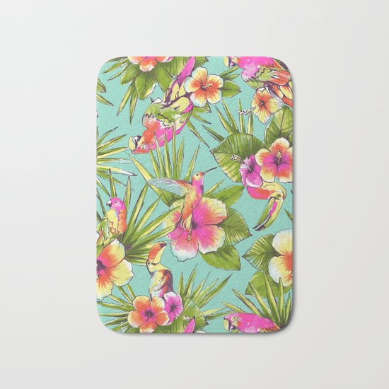 Tropical flowers with parrots Bath Mat