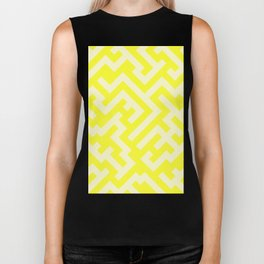 Cream Yellow and Electric Yellow Diagonal Labyrinth Biker Tank