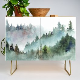 Watercolor Pine Forest Mountains in the Fog Credenza