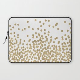 Gold Glitter Dots in scattered pattern Laptop Sleeve