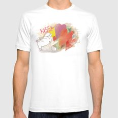 Who you gonna to KISS ? MEDIUM White Mens Fitted Tee