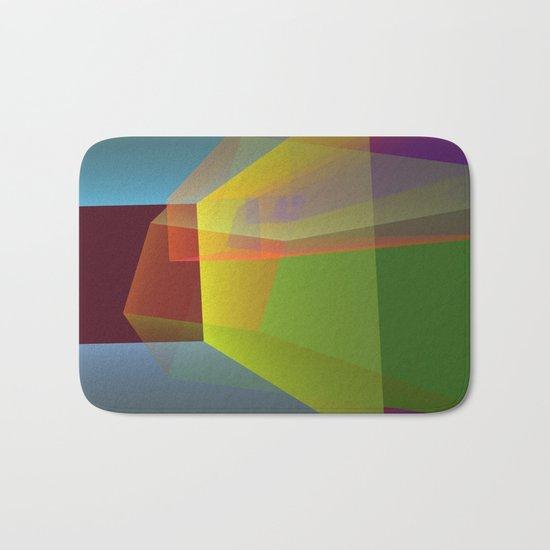 Modern colourful translucent cubism Bath Mat