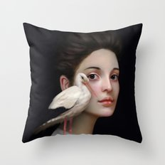 Miss Stork Throw Pillow