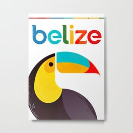 Belize Retro Vintage Travel Poster Metal Print