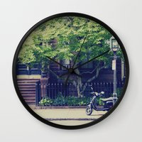 vespa Wall Clocks featuring Vespa by thirteesiks