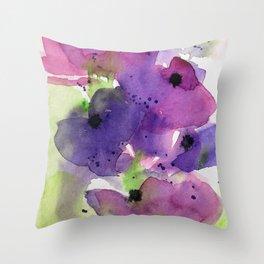 Purple Flowers in the Garden Throw Pillow