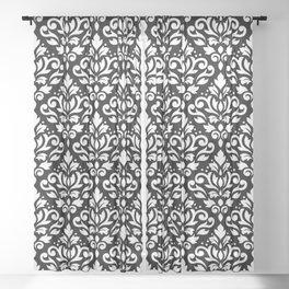 Scroll Damask Large Pattern White on Black Sheer Curtain