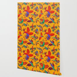 Pattern with Firebirds (on yellow background) Wallpaper