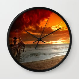 California Sunset Huntington Beach Wall Clock