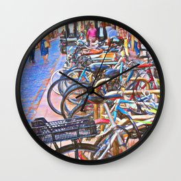 Bikes for rent in Barcelona, Spain Wall Clock