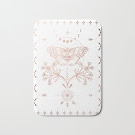 Magical Moth In Rose Gold Bath Mat