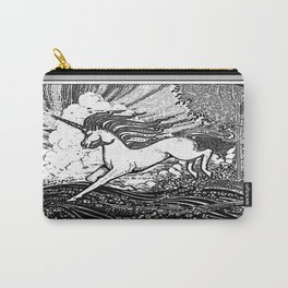Mystic Running Unicorn In Meadow B&W Drawing Carry-All Pouch