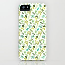 Woodland Ferns Illustrated Pattern iPhone Case