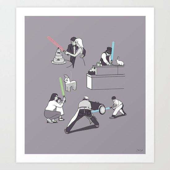 Everyday Lightsabers Art Print