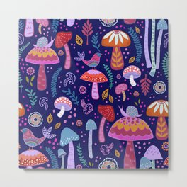 Magical Mushrooms on navy Metal Print