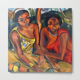 African American Portrait 'Swazi Girls with Fruit' by I. Stern Metal Print