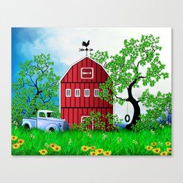 Red Barn with Old Truck Canvas Print