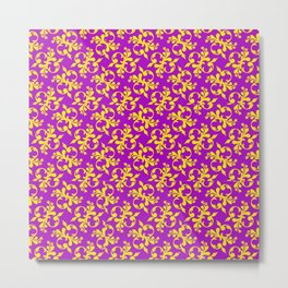 Purple and Gold Pattern Metal Print
