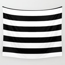 Black Bold Stripes Wall Tapestry