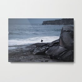 Surfer waiting for entry into the surf at Tamarama Beach. Sydney. Australia. Metal Print