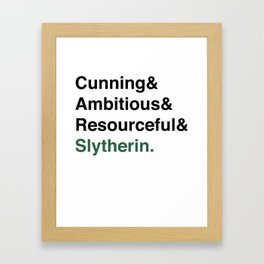 Modern Slytherin House Traits Framed Art Print