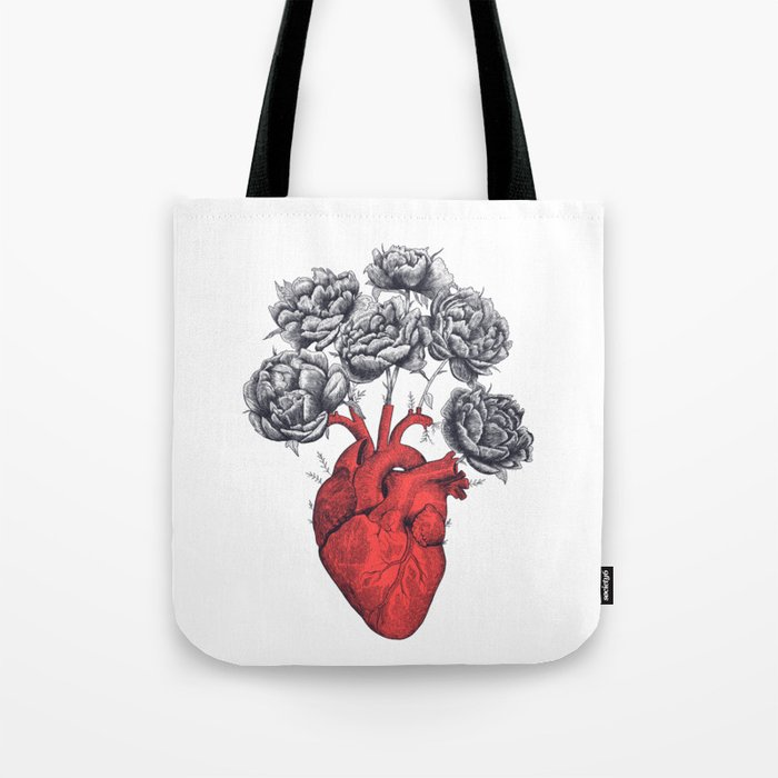 Heart with peonies Tote Bag