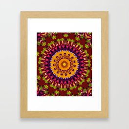 Lovely Healing Mandalas in Brilliant Colors: Brown, Wine, Green, Pink, Mustard, and Burnt Orange Framed Art Print