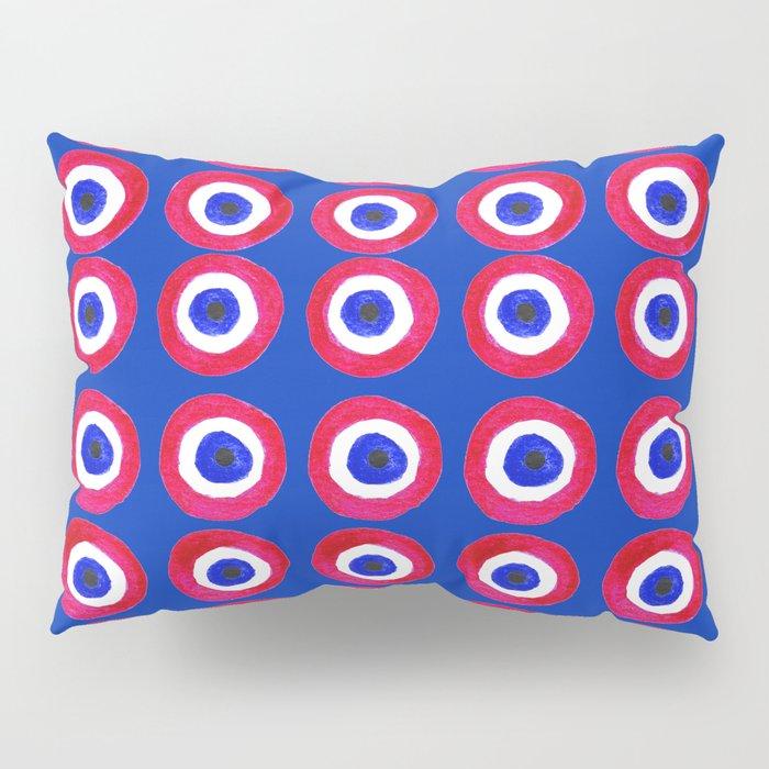 Donut Evil Eye Amulet Talisman - red on blue doughnut Pillow Sham