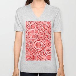 Red and white vintage paisley pattern Unisex V-Neck