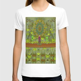 Meditative Garden got visit of lady panda and the floral skulls T-shirt