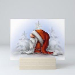 Little Santa in the snow Mini Art Print