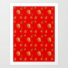 Tropical Pattern Red Art Print