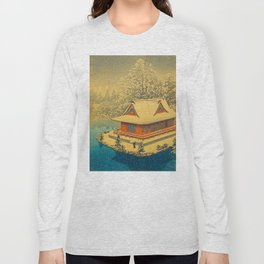 Vintage Japanese Woodblock Print Winter Red Pagoda Falling Show Blue Lake Long Sleeve T-shirt